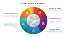 5 Points Infographic Template With Circle Layout Vector.