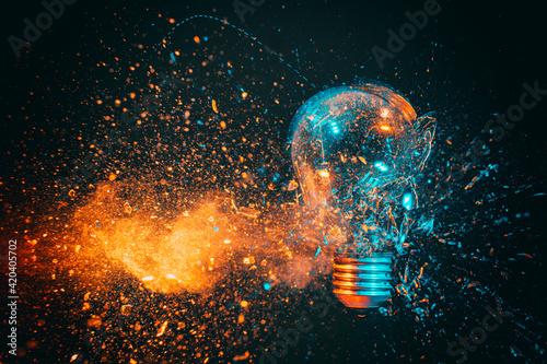 Obraz explosion of a filament light bulb. - fototapety do salonu