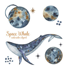 Blue Whale Watercolor Illustration Isolated On White Background, Space Planets Clipart, Cosmic Whale Hand Drawn Art, Whales And Stars Clipart