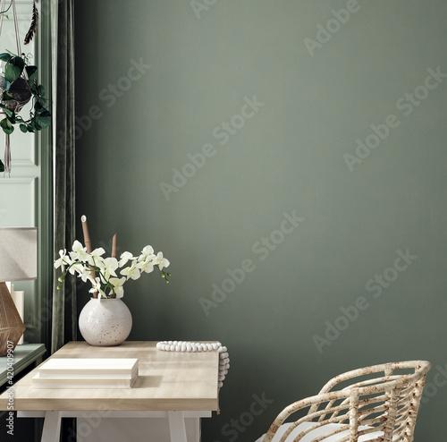 Obraz Cozy dark green workplace interior at home, wall mockup, 3d render - fototapety do salonu
