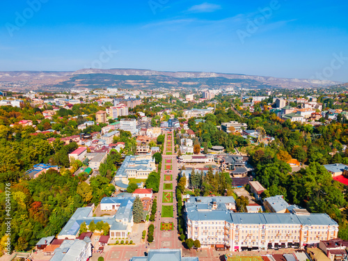 Canvastavla Kurortny Boulevard aerial view, Kislovodsk