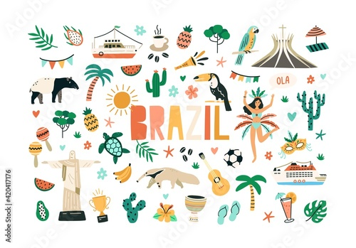 Leinwand Poster Colorful set of Brazilian culture and nature