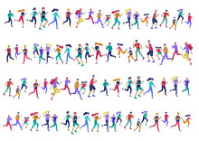 People Marathon Running Sport Race Sprint, Concept Illustration Running Men And Women Wearing Sportswer In Landscape. Jogging At Training. Healthy Active Speed Exercise. Cartoon Vector