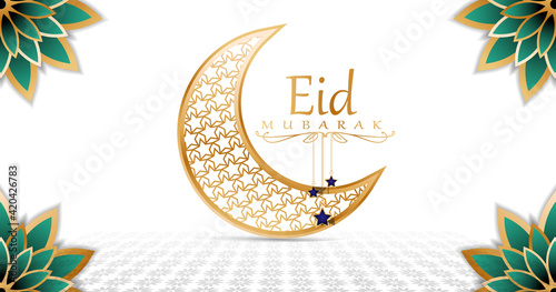 eid mubarak background simple the moon with ornament stars in center - fototapety na wymiar