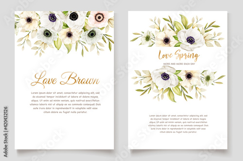 Watercolor Poppy anemone invitation card Fototapeta