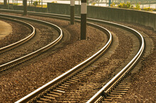 Close Up Of Empty Railroad Track. Transportation Background