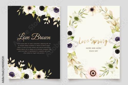 Fotografija Watercolor Poppy anemone invitation card