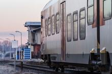 HYBRID MULTIPLE UNIT - Modern Passenger Train On A Trail On A Foggy Morning