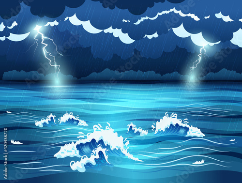 Fotografie, Obraz Sea Storm Illustration