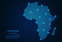 Abstract Image Africa Map From Point Blue And Glowing Stars On A Dark Background. Vector Illustration. Vector Eps 10.