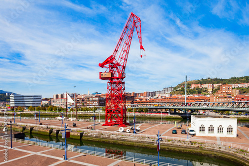 Red crane in Bilbao, Spain