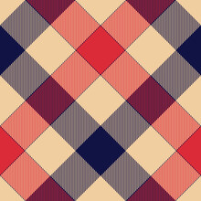 Buffalo Check Plaid Pattern In Navy Blue, Red, Beige. Decorative Seamless Stitched Background For Tablecloth, Blanket, Skirt, Other Modern Autumn Winter Trendy Everyday Fashion Textile Design.