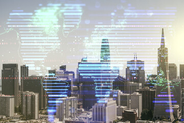 Double exposure of abstract digital world map hologram on San Francisco office buildings background, big data and blockchain concept