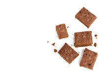Stack Of Baked Chocolate Brownie Pieces With Walnut Isolated On White Background