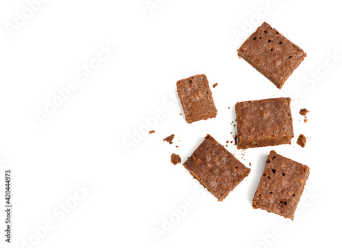 Canvas Print stack of baked chocolate brownie pieces with walnut isolated on white background