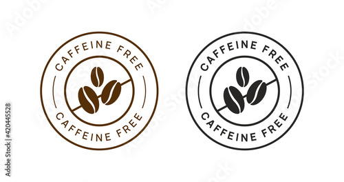 Canvas Print Caffeine Free Vector Circle Icon Badge Sign. No Coffee Sticker.