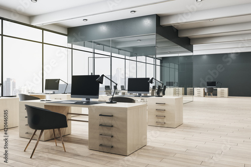 Obraz Monochrome style interior design of open space office with conference room behind glass walls, wooden floor and big window with city view - fototapety do salonu