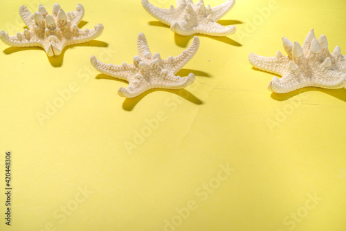 Canvas Print Summer pattern background with starfish on trend yellow background, with hard li