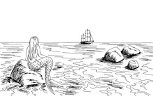 Mermaid Looking At The Ship Graphic Black White Sea Landscape Sketch Illustration Vector
