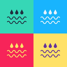 Pop Art Wave With Water Drop Icon Isolated On Color Background. Vector