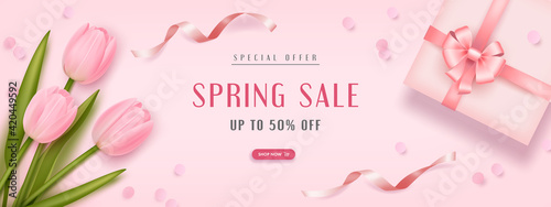 Obraz Spring special offer vector banner background with spring season sale text, tulip flowes and gift box. Can be used for banners, wallpaper, flyers, voucher discount. Vector illustration - fototapety do salonu