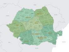 Detailed Map Of Romania With Administrative Divisions Into Regions And Counties, Major Cities Of The Country, Vector Illustration Onwhite Background