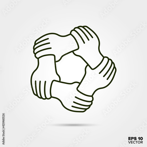 Teamwrk concept. Five hands holding each others wrist vector line icon