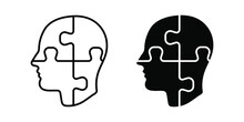 Head Puzzle Icon. Head Puzzle Mind Design For Education Industry Design. Editable Icon. Vector Illustration