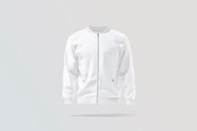 Blank White Bomber Jacket Mock Up, Gray Background