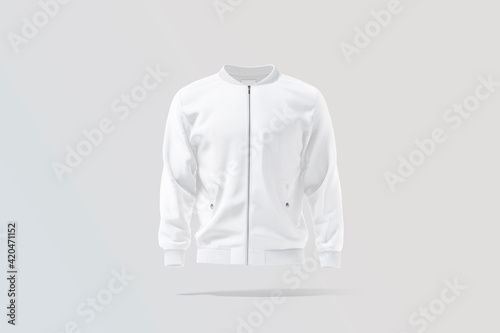 Canvas Blank white bomber jacket mock up, gray background