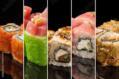 Fototapeta Collage with Japanese sushi. Rolls with tuna, salmon, shrimp, crab and avocado. Sushi menu obraz