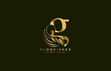 Lowercase Letter G Linked Beauty Flourish Golden Color Logo Design