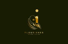 Lowercase Letter I Linked Beauty Flourish Golden Color Logo Design