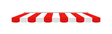 Tent Of Shop. Awning On Cafe. Roof Of Marketplace. Red-white Stripe Canopy For Store Or Market. Striped Sunshade For Restaurant, Circus And Marquee. Parasol On White Background. Vector