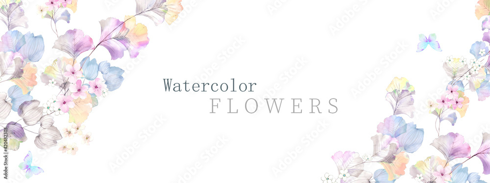 Fototapeta Watercolor flowers illustration
