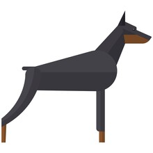 Doberman Pinchers Angry Security Dog Vector Illustration