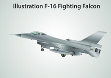 Illustration Real F 16 Fighting Falcon Silver Colour.