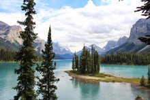 Alberta Canada Spirit Of Island In The Lake Maligne And Rocks