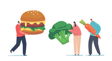 Meat Eater Vs Vegetarian Meals Choice. Tiny Male And Female Characters With Huge Carrot, Broccoli And Burger