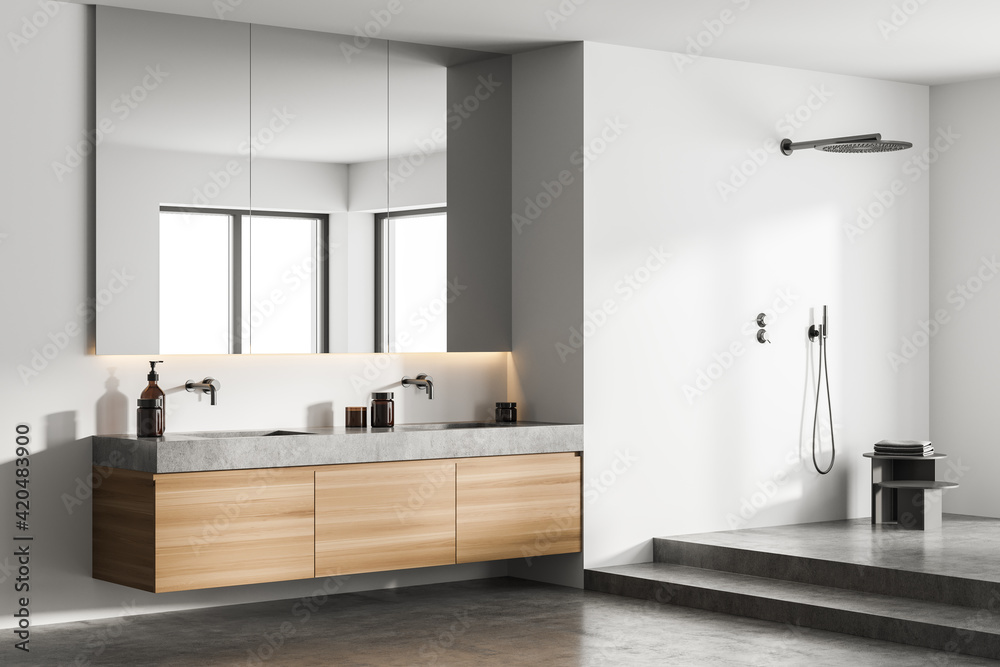 Fototapeta Modern classic bathroom with stone double sink and shower, minimalistic light grey interior design.