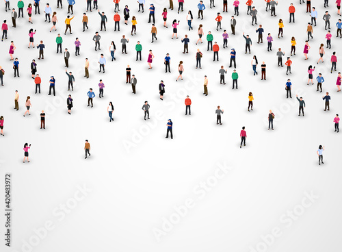 Large group of people on white background. People crowd concept. Fototapeta