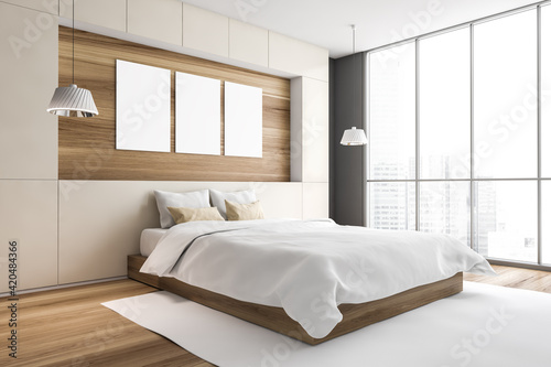 Mockup frames in bedroom with windows