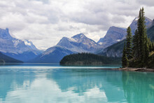 Canada Alberta Blue Mountain Lake On The Background Of The Rocky Mountains