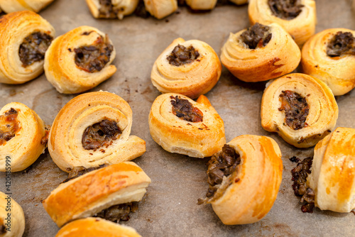 Fototapeta Freshly baked golden patties with mushrooms lying on baking paper. obraz