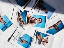 Sexy Girl In Pool On Polaroid Pics.