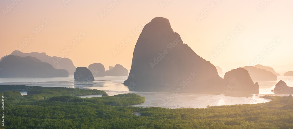 Fototapeta Scenery Phang Nga bay view point at Samet Nang She near Phuket in Southern, Thailand., landmark and popular for tourists attraction. Southeast Asia travel and tropical summer vacation concept