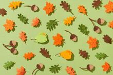 Seamless Pattern With Acorns And Autumn Oak Leaves, Maple, Pear, Chestnut In Yellow, Brown, Green, Orange Colors.