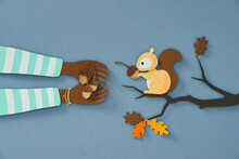 Human Hand Feeding Squirrel By Nuts, Paper Cut Style