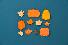 Autumn Background With Yellow Maple Leaves, Pumpkins