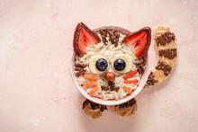 Cute Cat Oatmeal Porridge. Funny Breakfast For Kids
